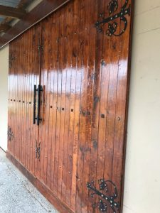 Wood and hinges stable doors